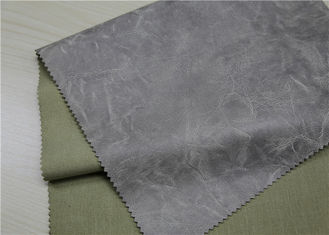 Waterproof PU Faux Leather , Grey Printed And Embossed Artificial Leather Fabric
