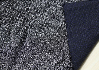 Shinine Black PU Bonded Leather Fabric With Backing Bonded Knitted Fancy Yarn
