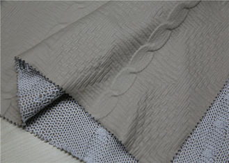 Beige PU Bonded Leather Fabric Backing Suede Fabric Bonded Knitted Fancy Yarn