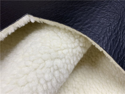 Soft Embossed Pu Leather Black Pu Bonded White Faux Fur For Garment / Coat